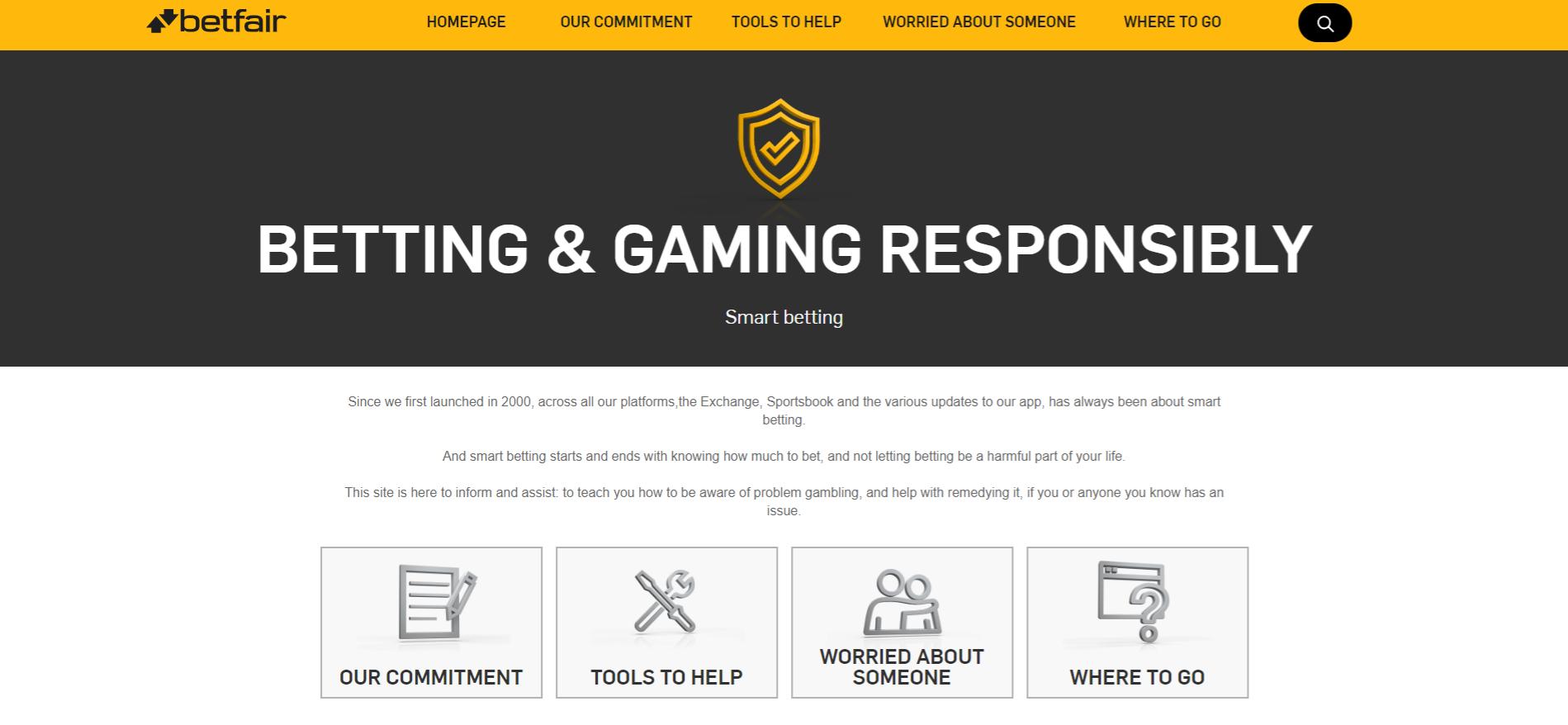betfair promotes responsible gaming