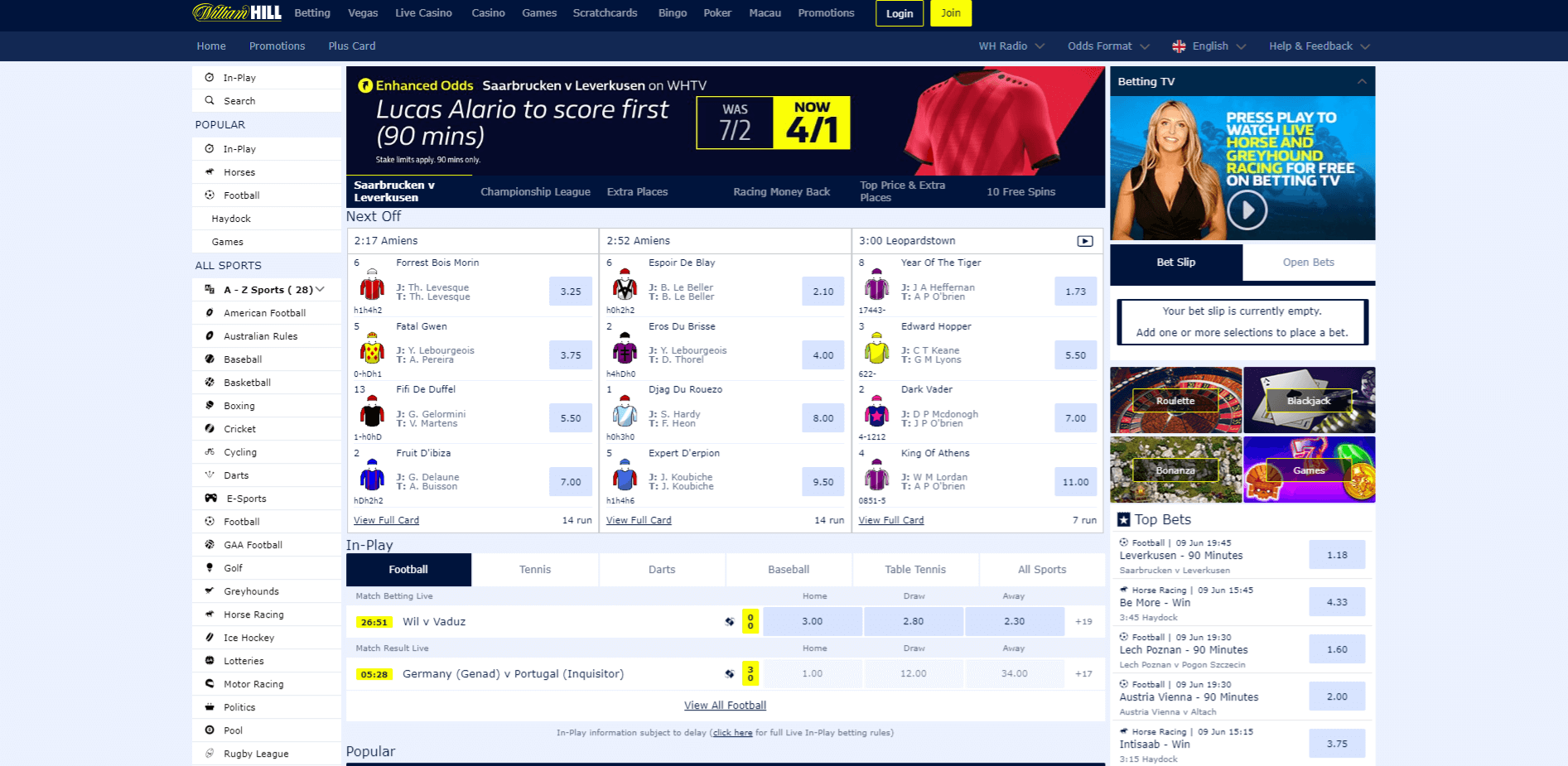 sports betting on William Hill